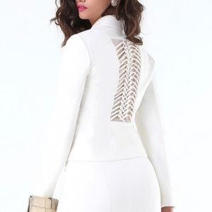 NWT Bebe Knotted Back White Blazer